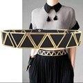 2016 Nueva Moda de La Vendimia Para Las Mujeres Oro Fundido Cinturón Negro Elástico Del Estiramiento de LA PU Cinturones