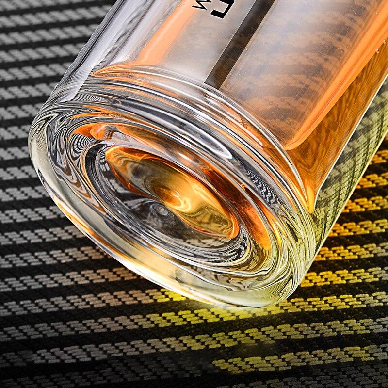 Feijian 330 мл стеклянная и титановая бутылка, бизнес тип, бутылка для воды с фильтром для заварки чая, двойная стенка, стеклянный стакан для воды - 2
