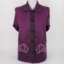 In the elderly women mother knit cardigan sweater lapel sweater elderly women's 60-70-year-old grandmother jacket