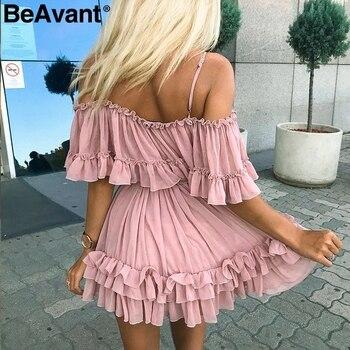 BeAvant Off shoulder strap chiffon summer dresses Women ruffle pleated short dress pink Elegant holiday loose beach mini dress 1