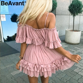 Off shoulder Strap Chiffon Ruffle Dress 1