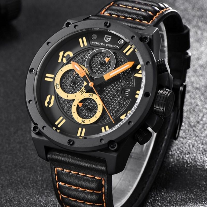 все цены на Luxury Brand PAGANI DESIGN Watches Men Chronograph Sports Leather Quartz Watch Waterproof Military Wistwatch Relogio Masculino