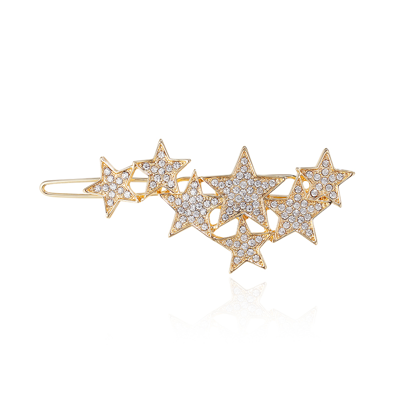 QUIMERA Estrela de Cristal Ganchinhos Grampos de Cabelo Da Moda Grampo de Cabelo de Ouro para As Mulheres Meninas Clássico Liga Acessórios Para Cabelo Nupcial Headwear