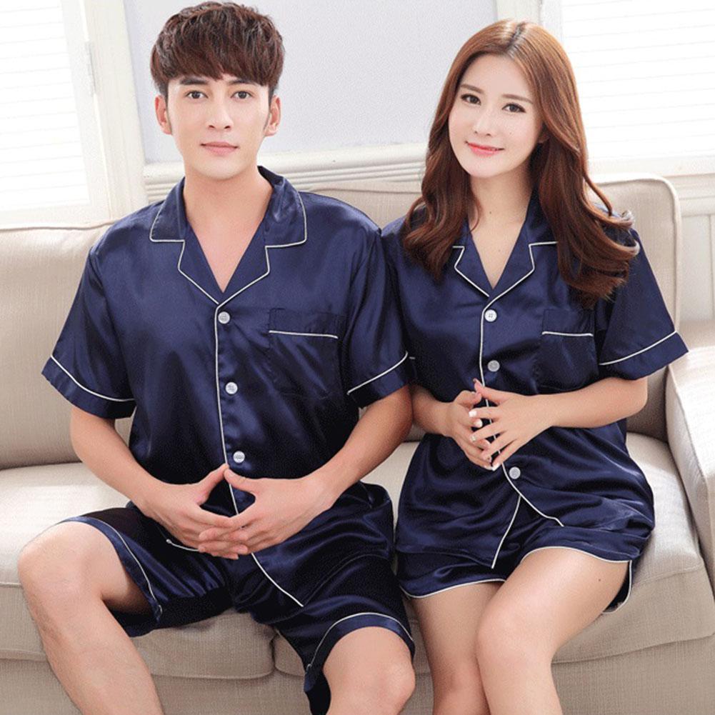 Brand Imitation Silk Pajamas Sets Sleeveless Spaghetti Strap Couple Sleepwear Family Homewear Women Men Lover SAN0