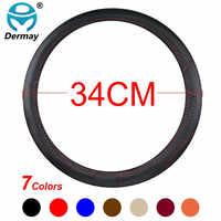 DERMAY taille 34 cm housse de volant de voiture 7 couleurs Micro Fiber cuir + Fibre de carbone pour nouveau Peugeot 208 308 508