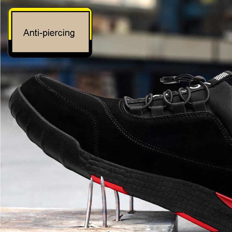 Yıkılmaz Şık nefes Ayakkabı erkek Iş Güvenliği Ayakkabıları Erkekler Açık Çelik Burunlu Ayakkabı Askeri Savaş yarım çizmeler