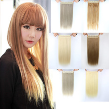 60cm 24″ 120g High Tempreture 14Colors Women Hair Extensions Brown Blonde Costume Natural Straight Long Synthetic Hair Extension