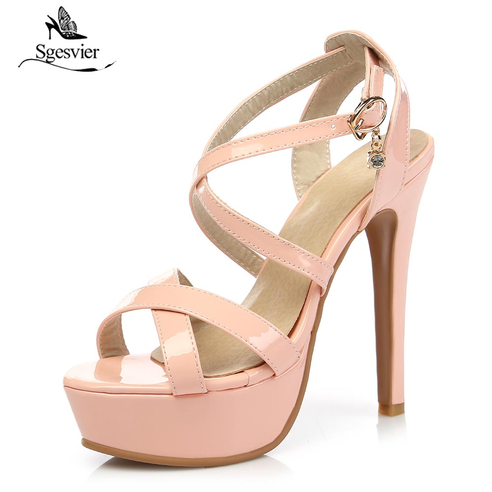 Sgesvier Summer Sexy Women Sandals Open Toe Thin High Heels Platform Sandals Black Beige Pink Shoes Woman Plus US Size 3-17 B365 sgesvier european style ankle strap women summer shoes wedges high heels sandals platform causel shoes plus size 34 43 vv431