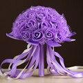 Белый Розовый Красный Фиолетовый 6 Цвет Ленты Роуз Искусственный Свадебный Букет Buque Noiva Невесты Цветка Руки Букет