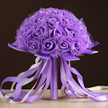 Blanco Rosa Rojo Púrpura 6 Cinta de Color De Rosa Artificial Ramo De La Boda Noiva Buque de dama de Honor Ramo de Flores de Mano