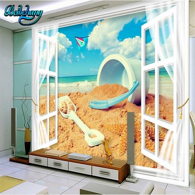Beibehang 3d Windows Wind Ansicht Innen Wohnzimmer Strand Tv