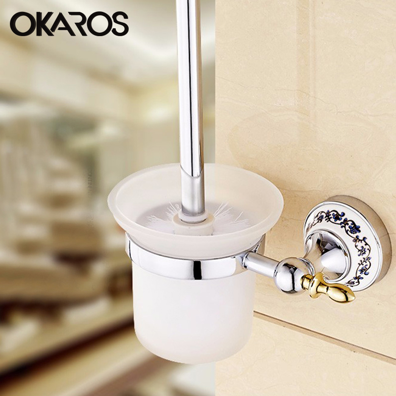 OKAROS Chrome Finished Toilet Brush Holder With Glass Cup Ceramic Decoration Stainless Steel Chrome  Bathroom Cheap Hardware