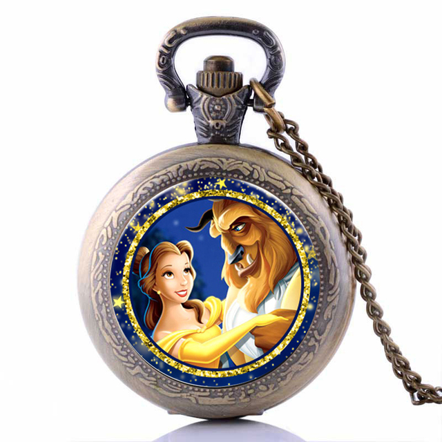 2017 Beauty and the Beast Cartoon Quartz Pocket Watch Analog Pendant Necklace Ch
