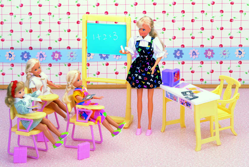 original for princess barbie classroom doll accessories 1/6 bjd doll school desk furniture supplies set toy gift