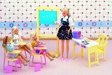 Originele Voor Prinses Barbie Classroom Doll Accessoires 1/6 Bjd Pop School Bureau Barbie Meubels Levert Set Speelgoed Gift