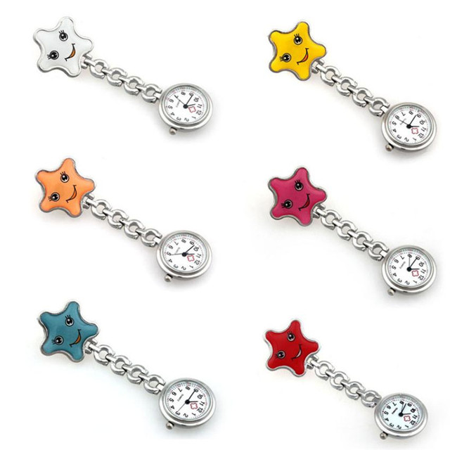 Nurse Watches 1 PC Brooch Fob Tunic Medical Nursery Clocks Cute Smile Star Quart