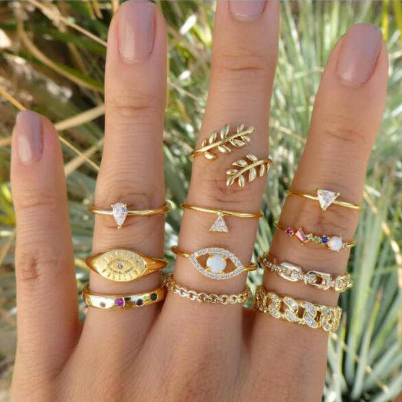 11 Pcs/set Simple Design Vogue Sweetheart Tree Leaf Leaves Chain Triangular Eyes Nail Band Mid-Finger Knuckle Ring Set for Women