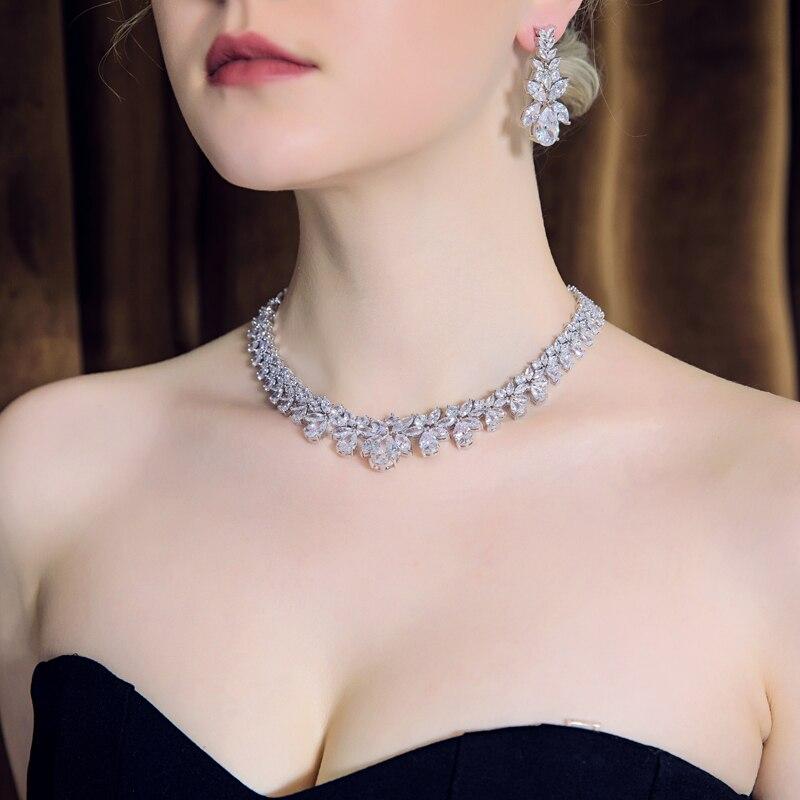 Hadiyana Bijoux hembra conjunto de joyería de la boda establece para las mujeres brillante AAA Zircon de moda de cobre joyería de dama de honor de CN184 - 2
