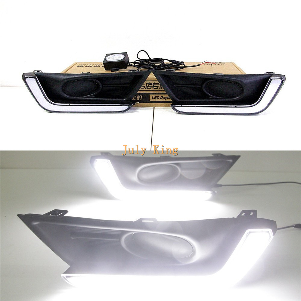 July King LED Light Guide Daytime Running Lights LED DRL Case For Honda CRV CR-V 2017+ low fog lamp Version july king led daytime running lights drl case for honda crv cr v 2015 2016 led front bumper drl 1 1 replacement