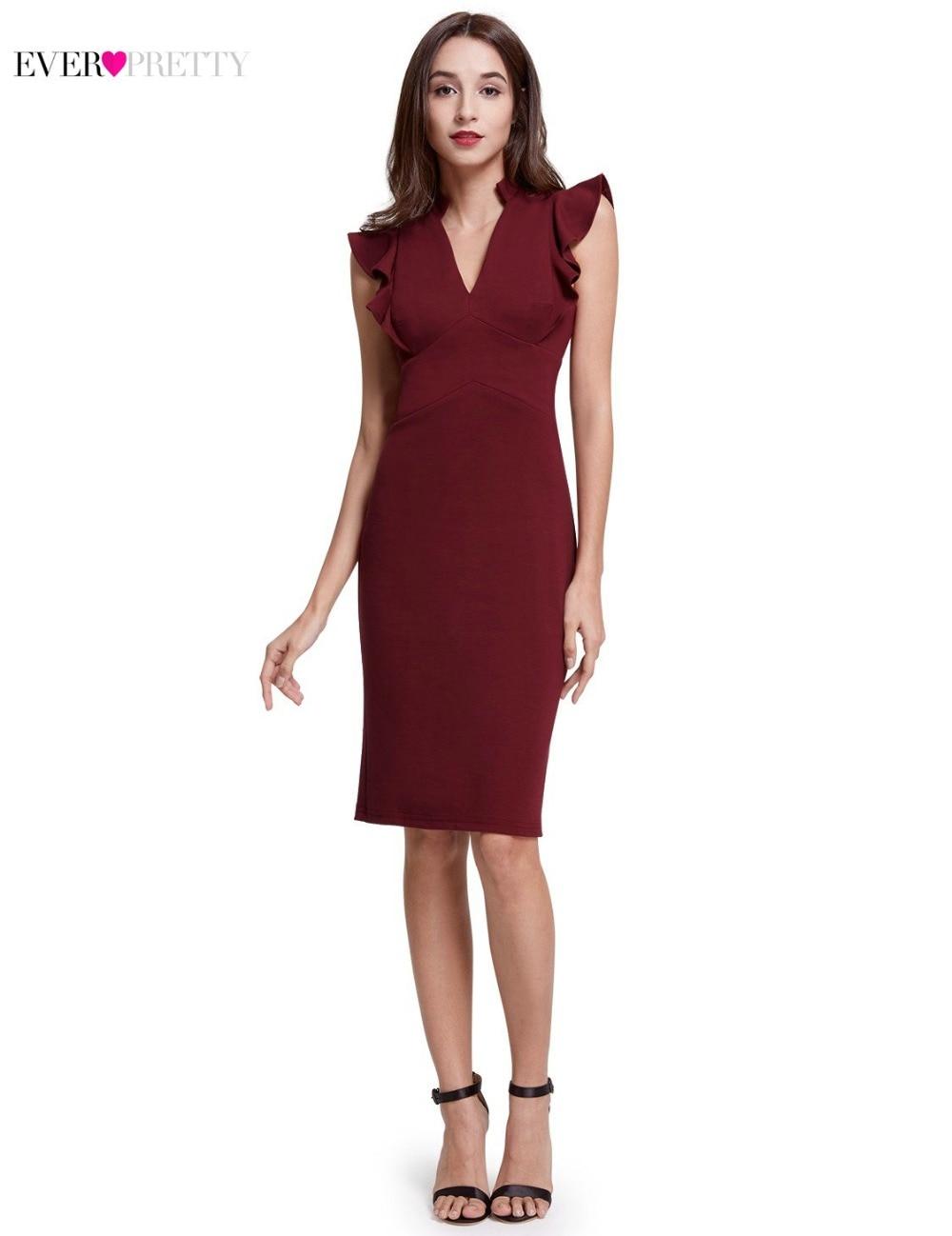 Gorąca sprzedaż burgundowe sukienki koktajlowe 2018 Ever Pretty - Suknie specjalne okazje - Zdjęcie 3