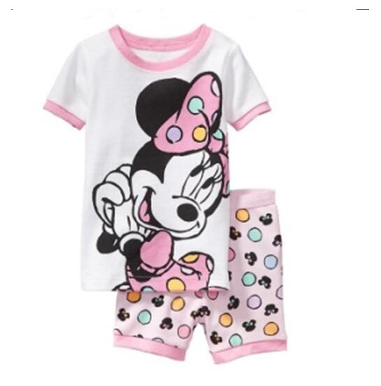 Baby Kids Pajamas Set Summer Children Short Sleeve Cotton Sleepwear Boys Cartoon Pyjamas Girls Cute Nightwear Home Clothing L141