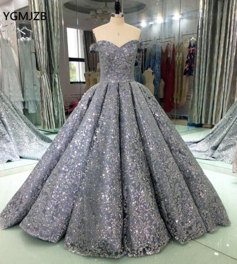 Luxury Glitter Sequins Evening Dresses Long 2018 Ball Gown