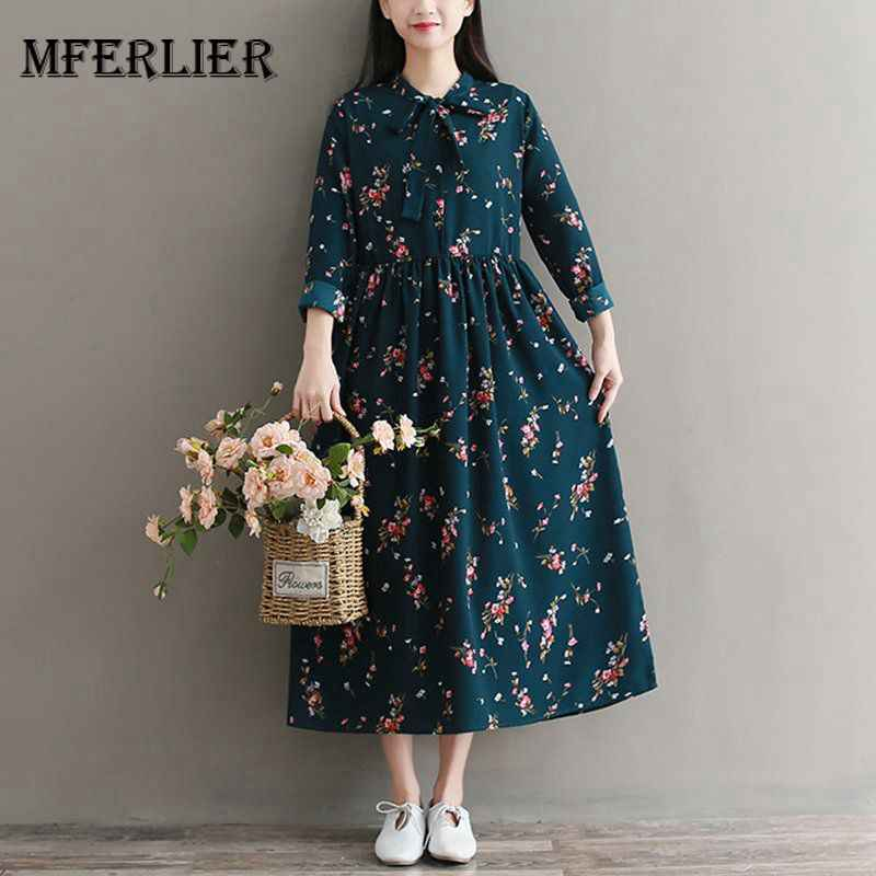 fe64459cc5892 Spring Winter Long Dress Long Sleeve O Neck High Waist Vintage Dress ...