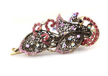 Lovely Hair Sticks Women Vintage Jewelry Rhinestone Hairpins Fashion Women Duckbill Peacock Clip(China)