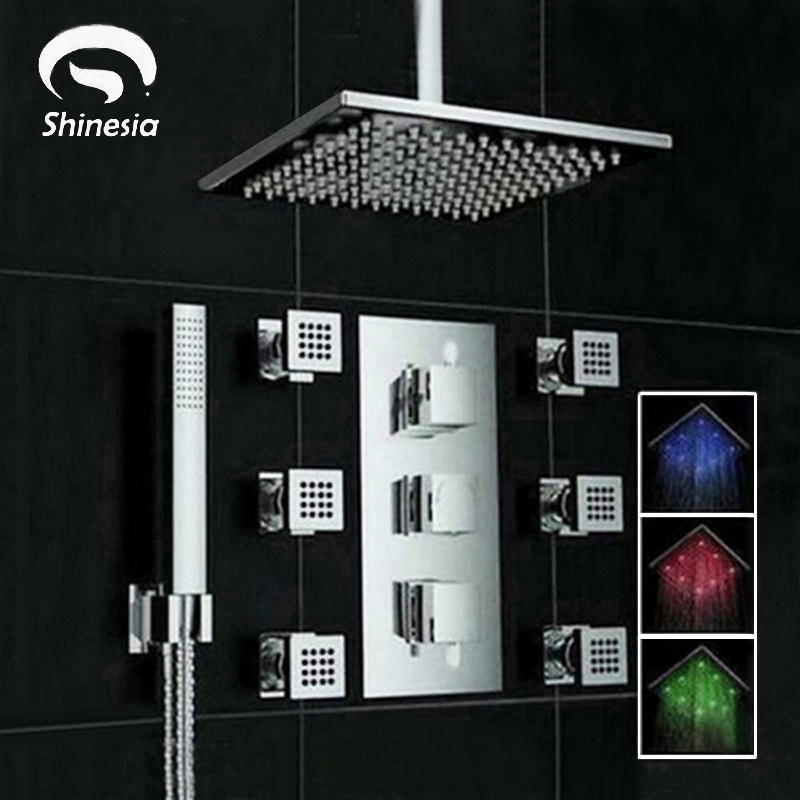 Chrome Ceiling Mount 3 Color Changing LED Square Rain Shower Head Thermostatic Valve Mixer Tap W/ 6 Massage Jets Shower Sprayer
