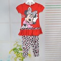 Free Shipping 3 Sets/lot 2-4T  New Summer Minnie Clothes Genuine Goods Cotton Shirt and Leopard Pants 2 Pieces Set