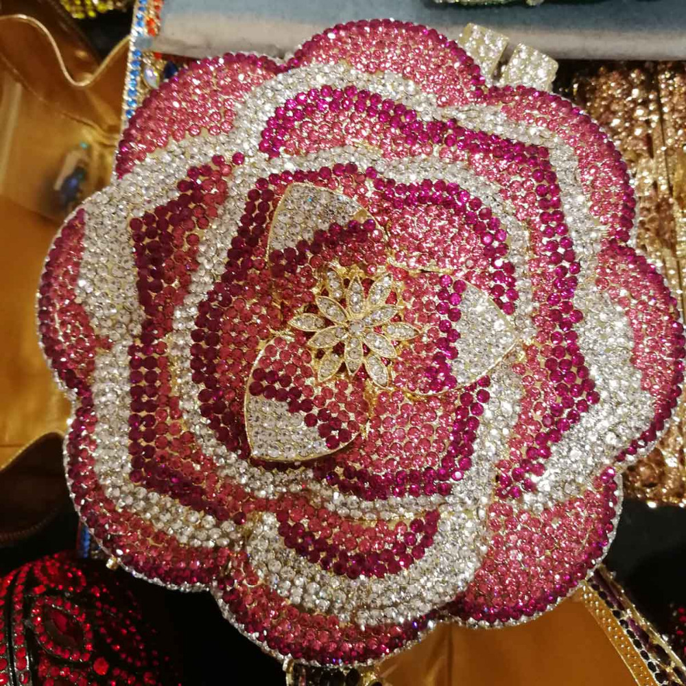 Pink Rose Flower Design Crystal Bags Luxury Boutique Clutch Bags Pink diamante Evening Bags Party Wedding Purse A30Pink Rose Flower Design Crystal Bags Luxury Boutique Clutch Bags Pink diamante Evening Bags Party Wedding Purse A30