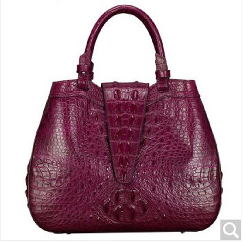 baosidu 2018 new Crocodile skin women handbag hand-custom fashion handbags Europe and the United States bag Wine red fashion handbags europe and the united states trendy handbag 2018 new shoulder messenger bag