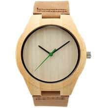 Moda Para Hombre Relojes de Primeras Marcas de Lujo Reloj Para Hombre Movimiento de Cuarzo Analógico Banda de Cuero Reloj Relojes de Pulsera De Madera