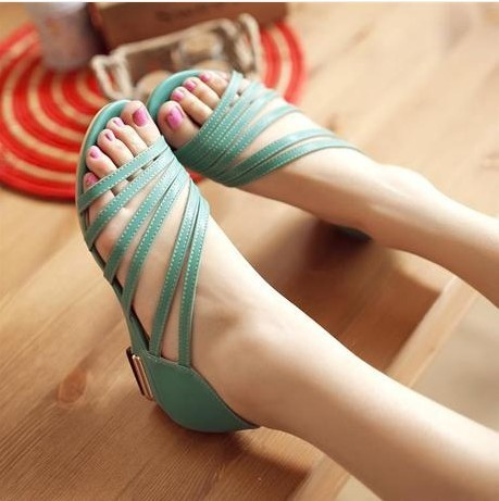 The new hollow zipper toe skid bottom side with Rome wind with measurement code cool women shoes