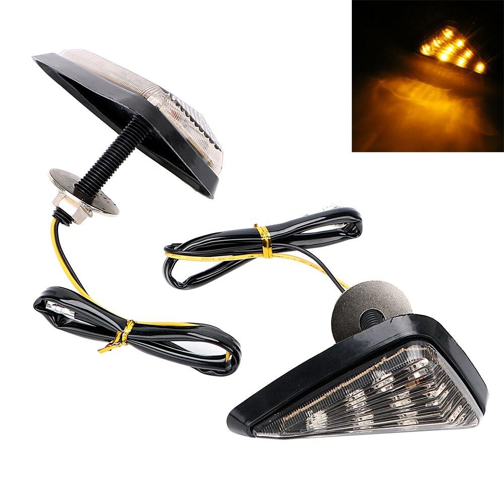1 Pair 9 LED Turn Light Turn Signal Motorbike Indicator Motorcycle Flasher High Power Piranha Light Smoked Color Triangle