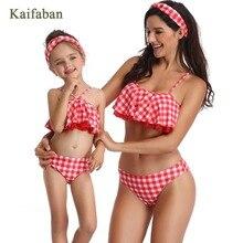 Обувь для девочек для женщин плед с открытыми плечами воланами разделение бикини купальный костюм семья танкини пляжная одежда Biquini