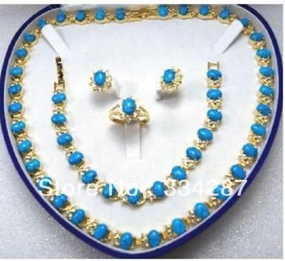 Beautiful Turquoises Necklace/Bracelet/Ring/Earring Set new beautiful pink crystal necklace bracelet earring ring set aa265