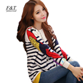 new 2017 women sweaters  parrot stripe pattern rabbit hair o-neck long-sleeve sweater female casual cardigans free shipping