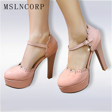 Plus Size 34-46 HOT Selling Women Pumps Sexy Platform High Heels Pearls Ankle Strap Sandals Summer Ladies Party Wedding Shoes women sandals platform size fashion hoof high heels sexy party for ladies shoes ankle buckle strap rivets decoration sandals