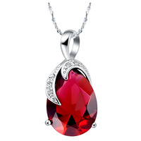 Wholesale 18k White Gold Plated Fashion Jewelry Chains Necklace Pendant High Grade Zircon N412
