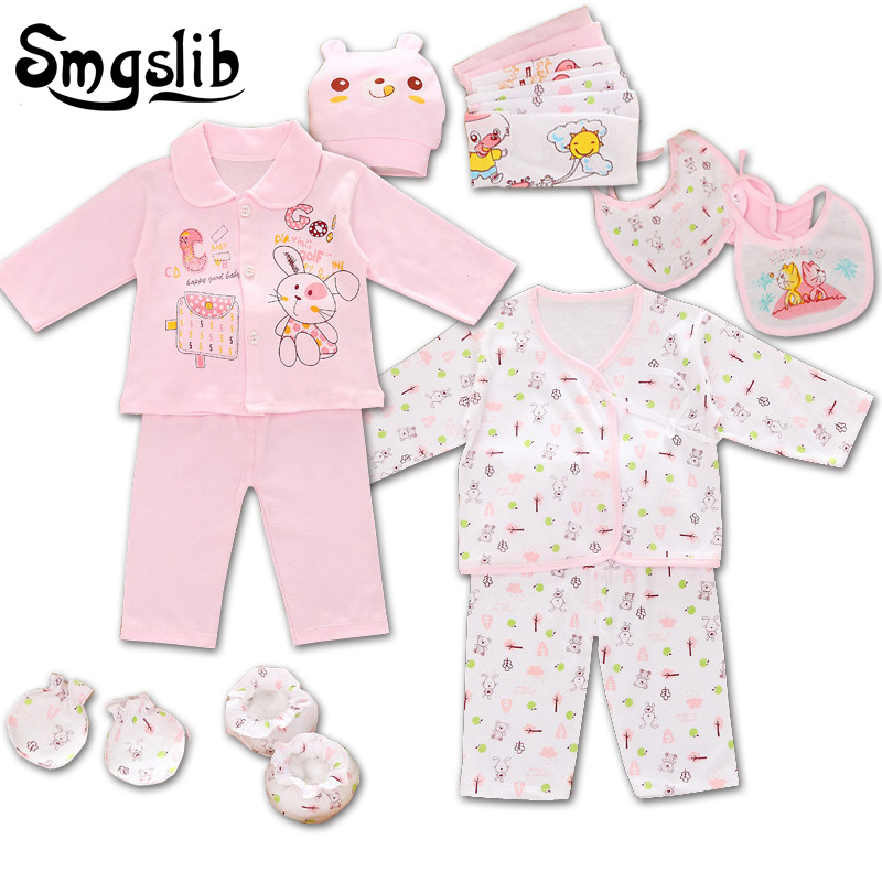 Smgslib 18 Pieces/lot Cartoon baby girl clothes New Born baby boy clothes long Sleeve Bodysuit Tops+Pants+Bib Toddler Outfit Set