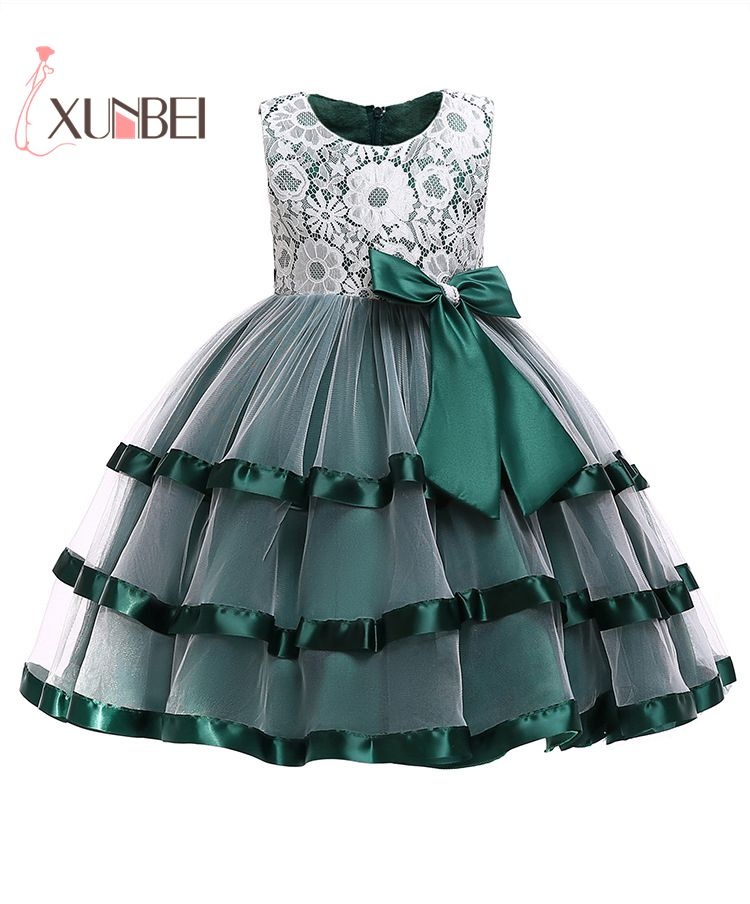 2019 Cute O-Neck Green Red Sleeveless   Flowers     Girls     Dresses   Bow First Communion   Dresses   Lace Ball Gown   Girls   Evening Gowns