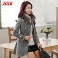 wool coat 2016 winter women woolen outerwear slim long-sleeve fashion thickening woolen overcoat 5191 plus size s-6XL