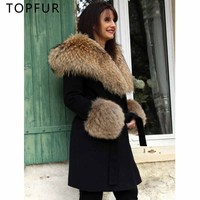 TOPFUR 2018 New Cashmere Fur Jacket Autumn Winter Natural Real Fur Raccoon Fur Hood Fashion Luxury Long Fur Jacket