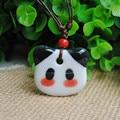 Ceramic jewelry female wild double-glazed David Panda cute pendant necklace Chinese wind ethnic style sweater chain accessories