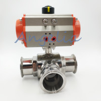 2 Sanitary Stainless 304 Three way T port Tri Clamp Pneumatic Ball Valve