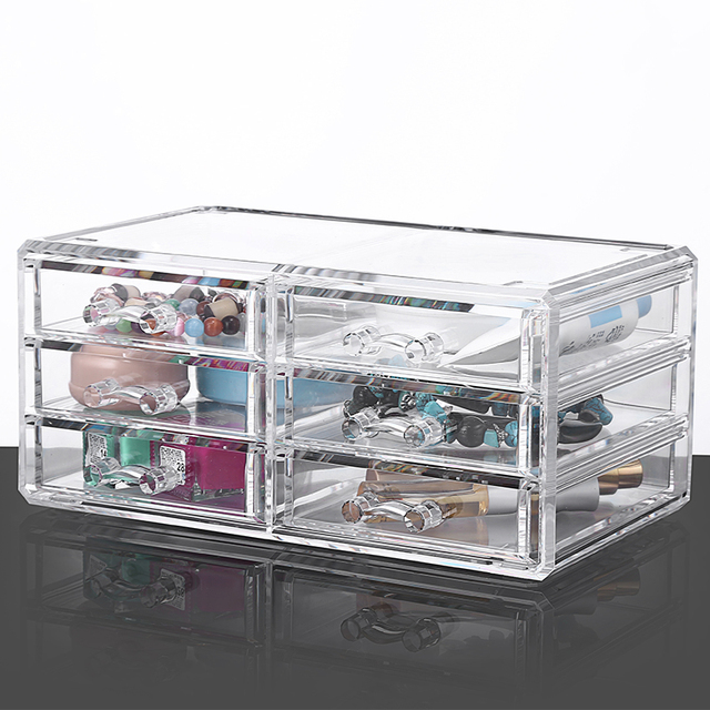 3 Layer 6 Drawer Jewelry Cases Clear Acrylic Storage Box Cosmetic Makeup  Organizer ASB13086 Free Shipping