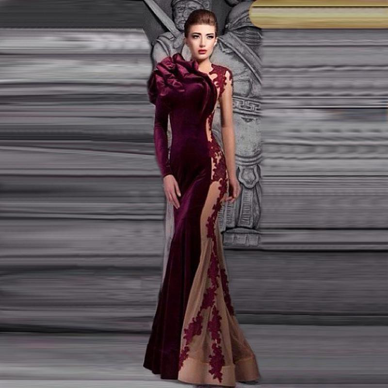 Hot 2019 Gorgeous Long Evening Dress O Neckline Lace Appliques Velvet Wine Red Mermaid Prom Gowns Flower Robe de Soiree 1