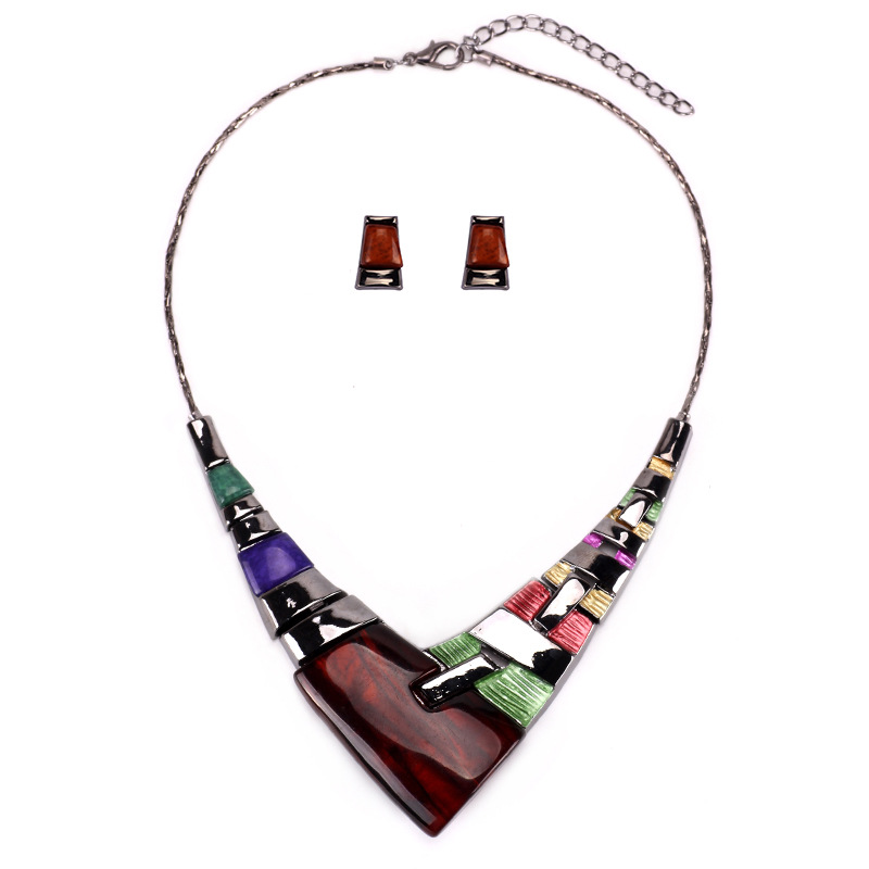 2018 Colorful Resin Coffee Purple Fashion Jewelry Sets Earrings Maxi Chain Necklace For Women Birthday Party Gifts Accessories