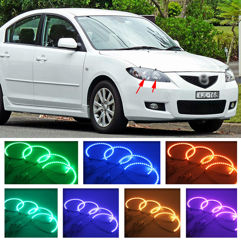 for mazda 3 RGB LED headlight halo angel eyes kit car styling accessories 2003 2004 2005 2006 2007 2008 2009 for mazda 3 2003 2004 2005 2006 2007 2008 2009 rgb led headlight rings halo angel demon eyes with remote controller